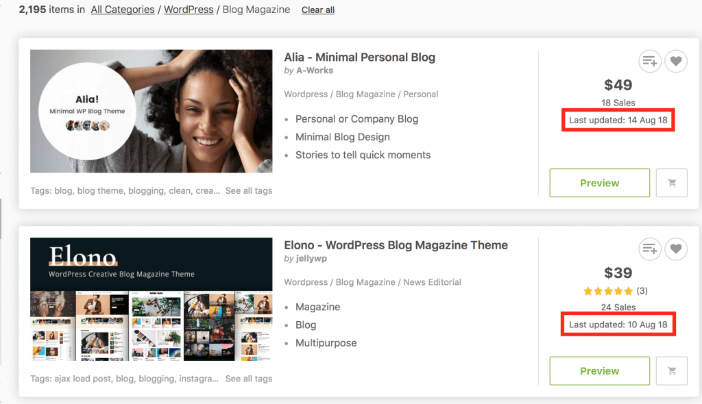Last updated ThemeForest - Tips Memilih Tema Pada WordPress