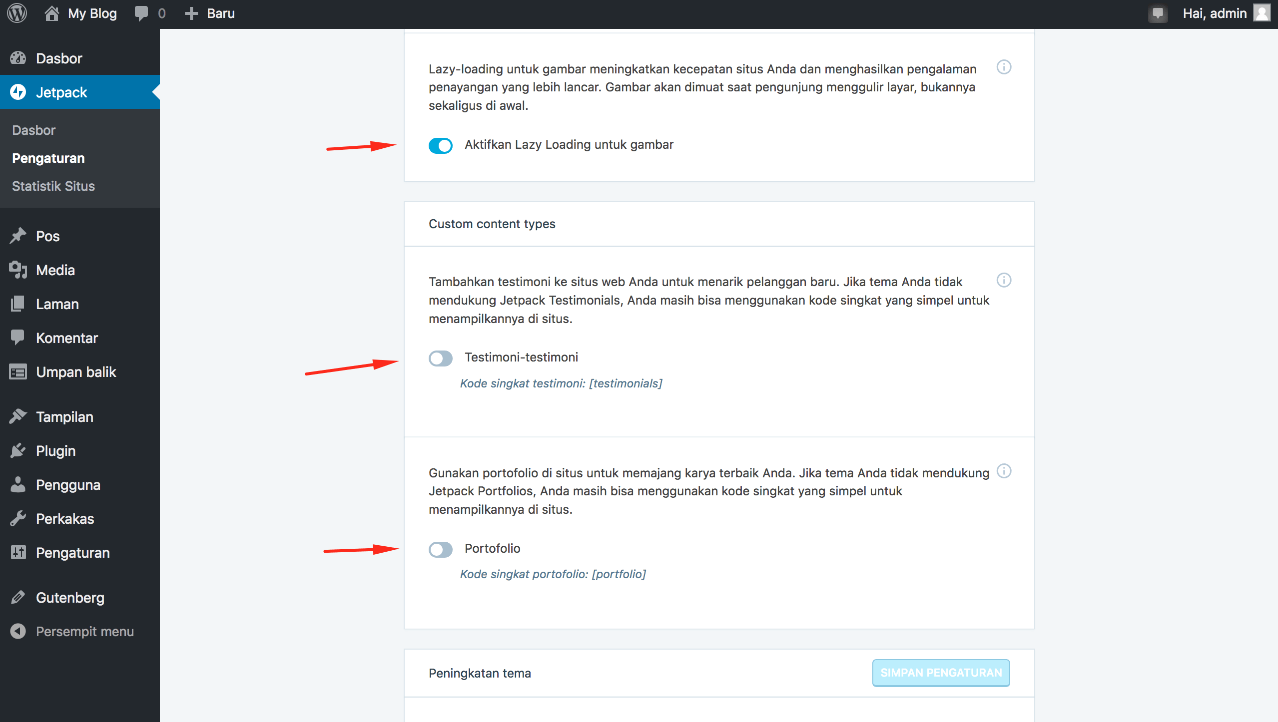 Pengaturan > Tulisan C - Plugin Jetpack di WordPress